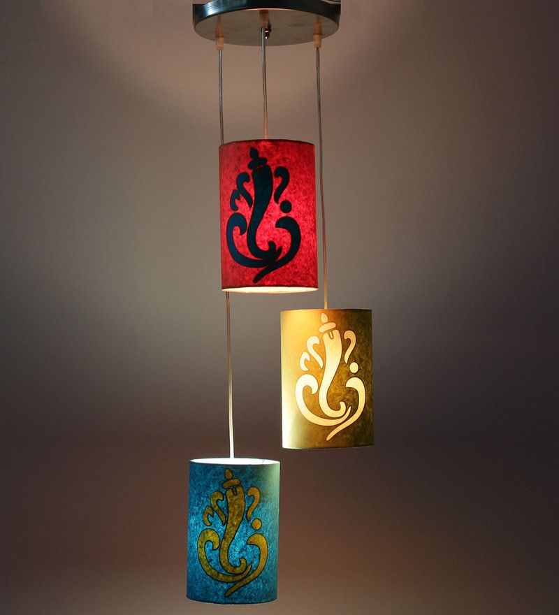 Ganesha Multicolour 5W LED Hanging Lamp - Set of 3 by Craftter