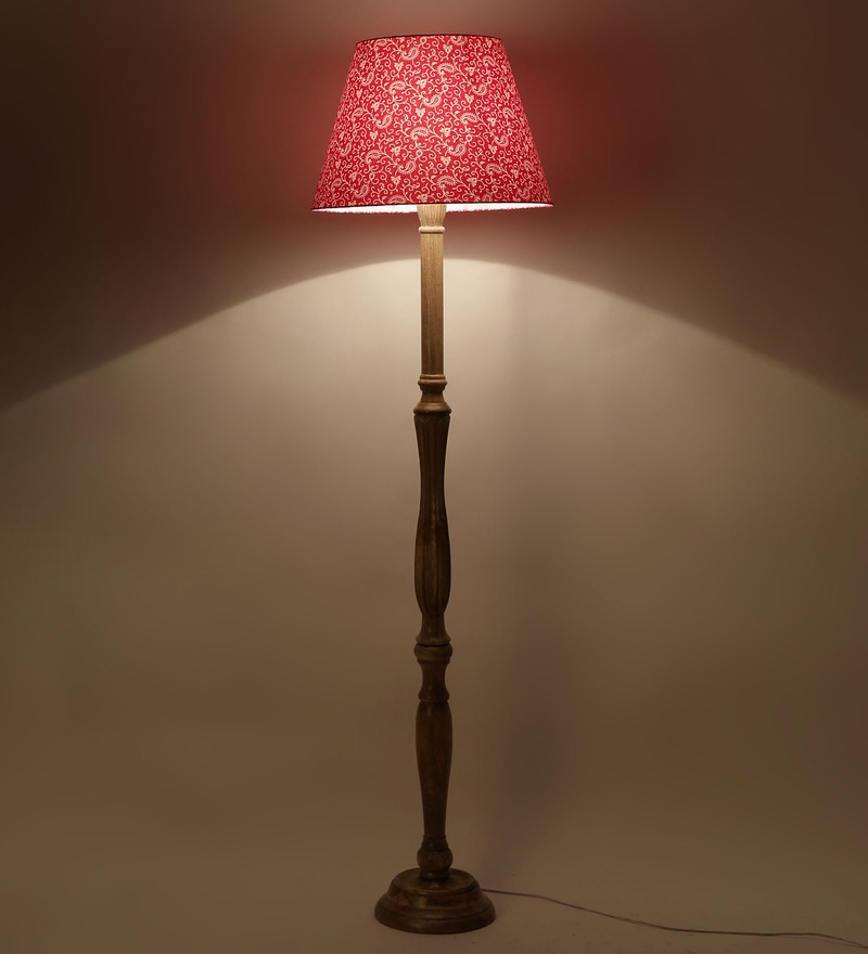 Traditional Keri Design Pink Color Wooden Floor Lamp by Craftter