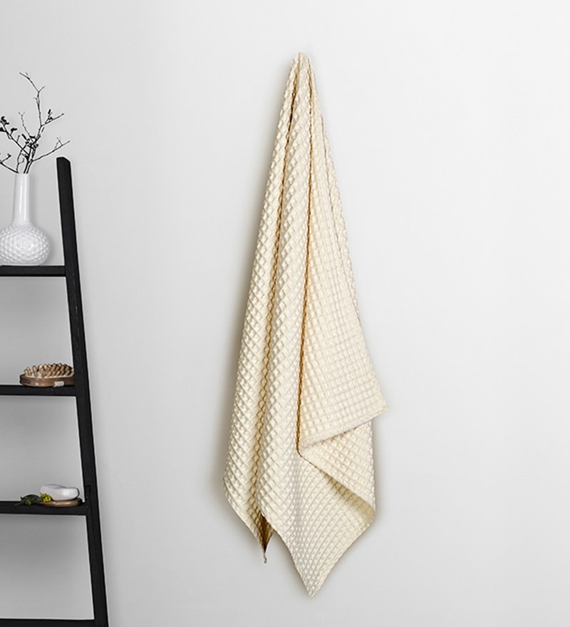 Cream Cotton 30 x 60 Inch Bath Towel by Vista Home Fashion