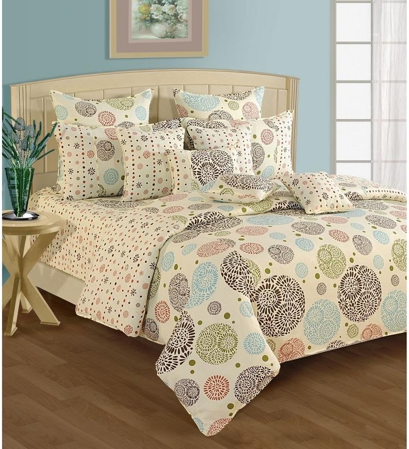 Cream Cotton Single Size Bedsheet - Set of 2 by Swayam