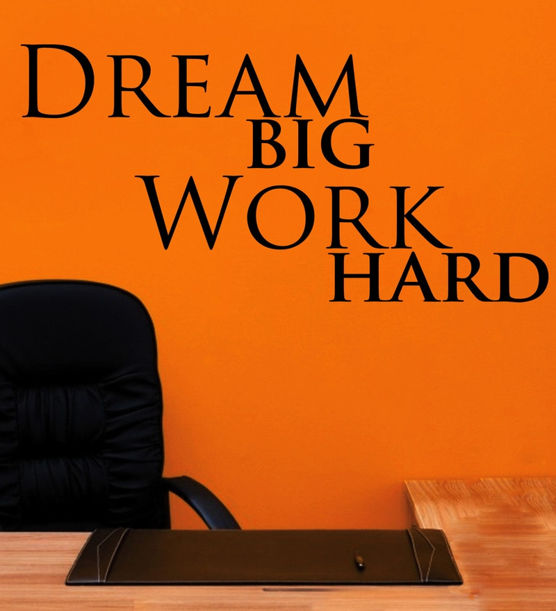 Vinyl Dream Big Work Hard Three Wall Sticker in Black by Creative Width