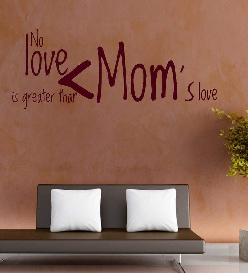 Vinyl Moms Love Two Wall Sticker in Burgundy by Creative Width
