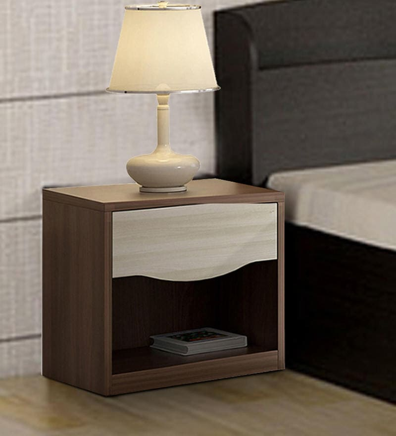 Crescent Bedside Table in Dark Acaica Finish by Spacewood