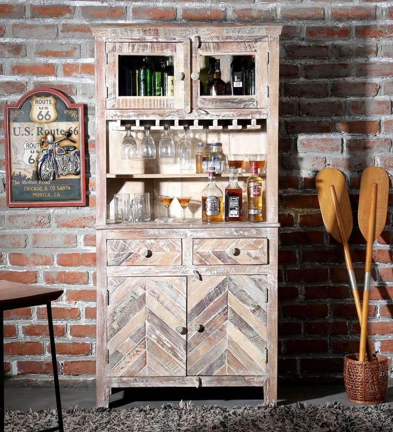 Rihanna Bar Cabinet in Distress Finish by Bohemiana