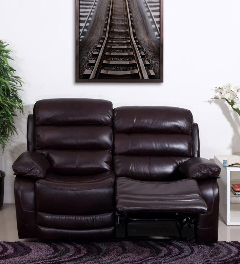 Croatia Two Seater Recliner Sofa in Dark Red Leatherette by Evok