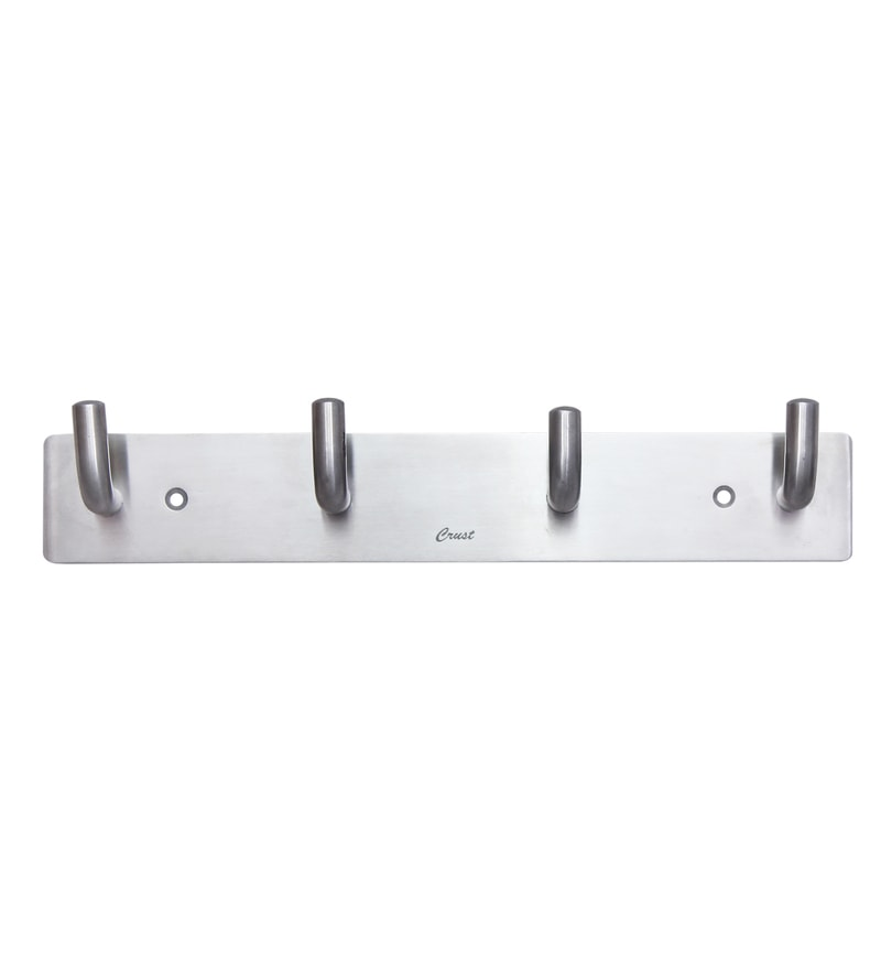 Crust Silver Stainless Steel 10 x 1.8 x 1.5 Inch Robe Hook