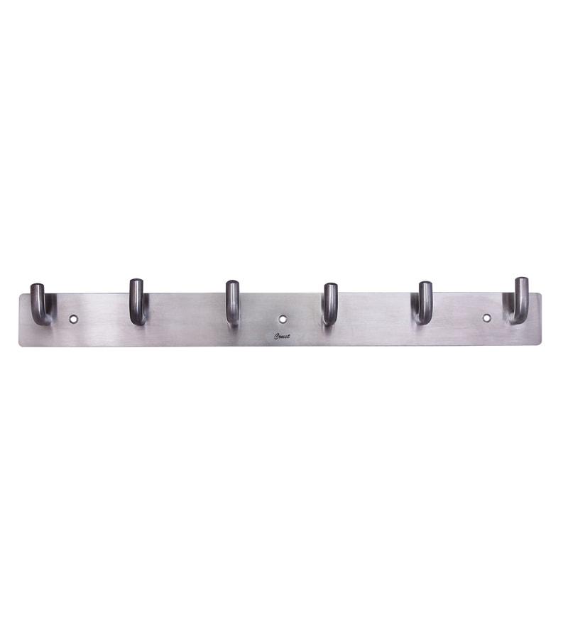 Crust Silver Stainless Steel 15.5 x 1.8 x 1.5 Inch Robe Hooks - Set of 2