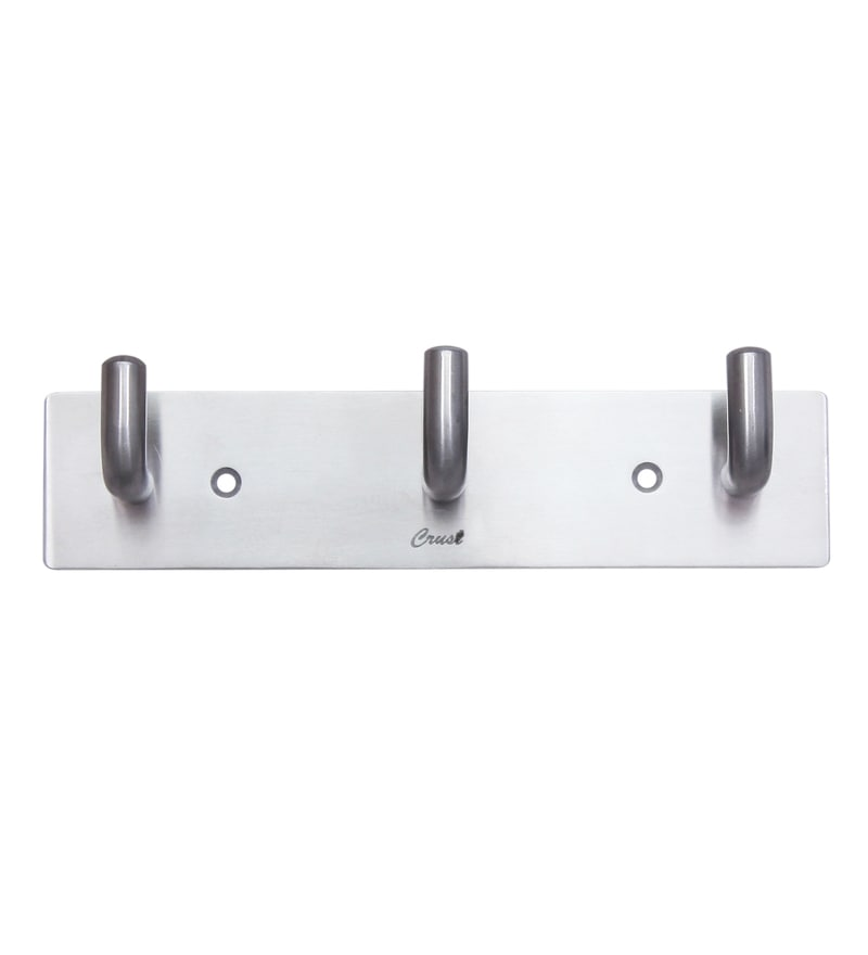 Crust Silver Stainless Steel 7 x 1.8 x 1.5 Inch Robe Hook