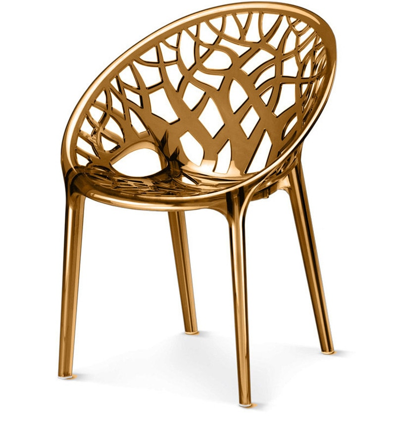 Buy Crystal Designer Chair In Golden Colour By Nilkamal Online Plastic Chairs Chairs