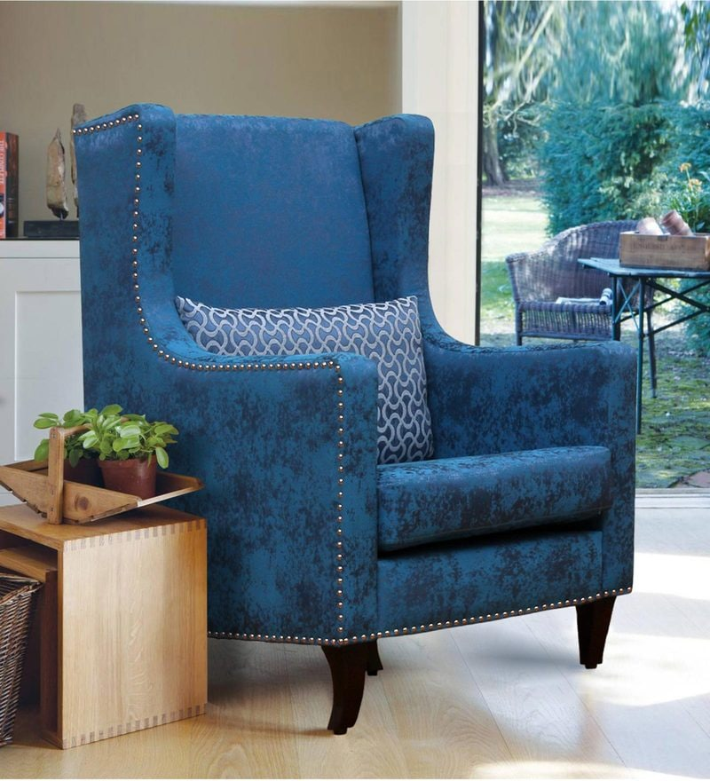 Crystal Wing Chair in Blue Colour by Peachtree