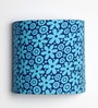 Flower Design Blue Color Half Shade Fabric Wall Lamp by Craftter