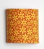 Craftter Flowers Design Yellow Half Shade Fabric Wall Lamp