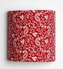 Traditional Keri Design Red Half Shade Fabric Wall Lamp by Craftter