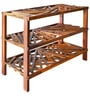 Criss Cross Shoe Rack with 3 Shelves in Warm Rich Finish by Inliving