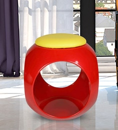 Cushioned Stool In Red & Yellow Colour