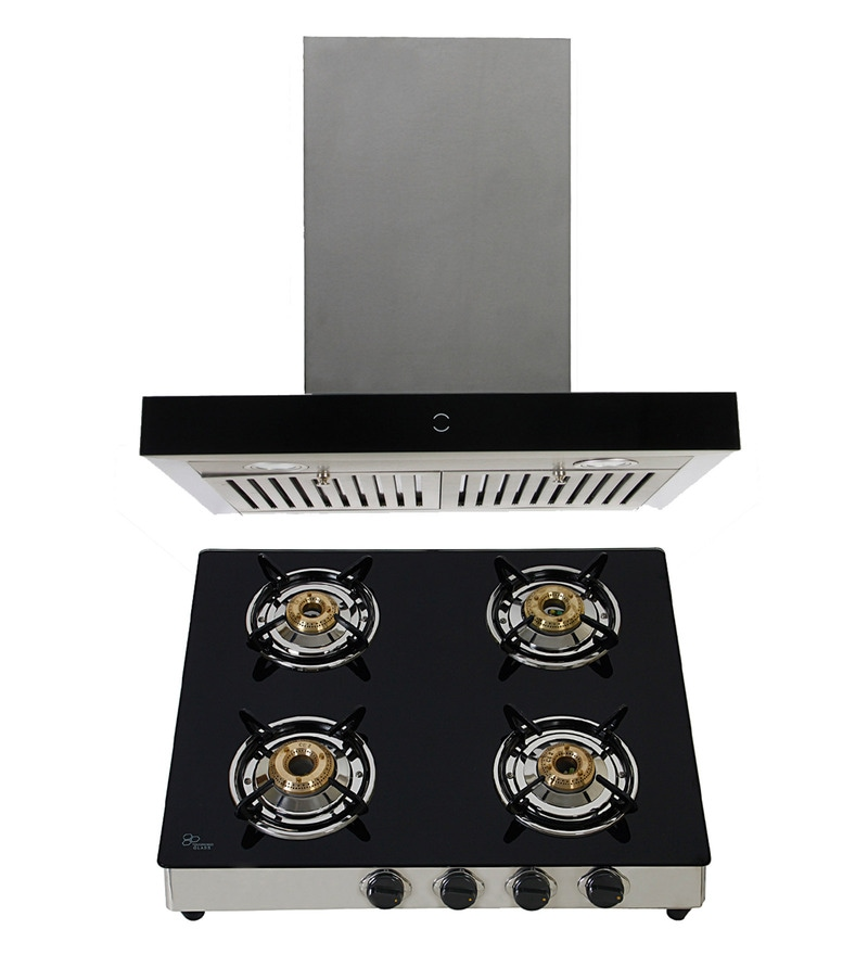 Cubix 1010 60 Cm Hood Chimney and 4-Burner AI Hob Cooktop Combo