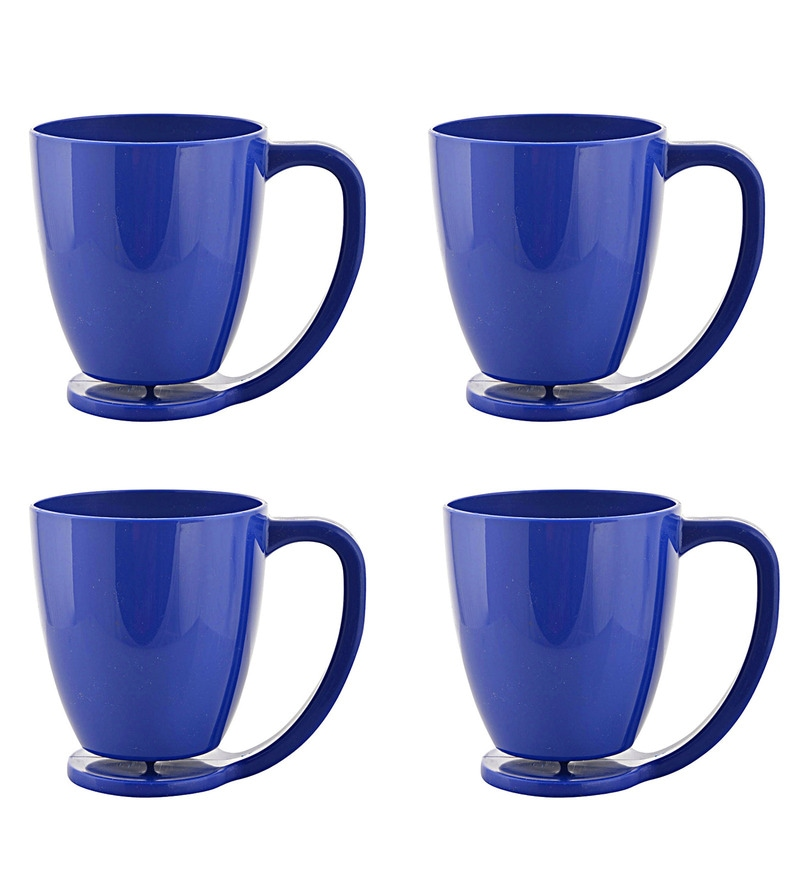 Cutting Edge Microwave Safe Electric Blue Polypropylene 375 ML Floating Mugs with Inbuilt Coaster - Set of 4