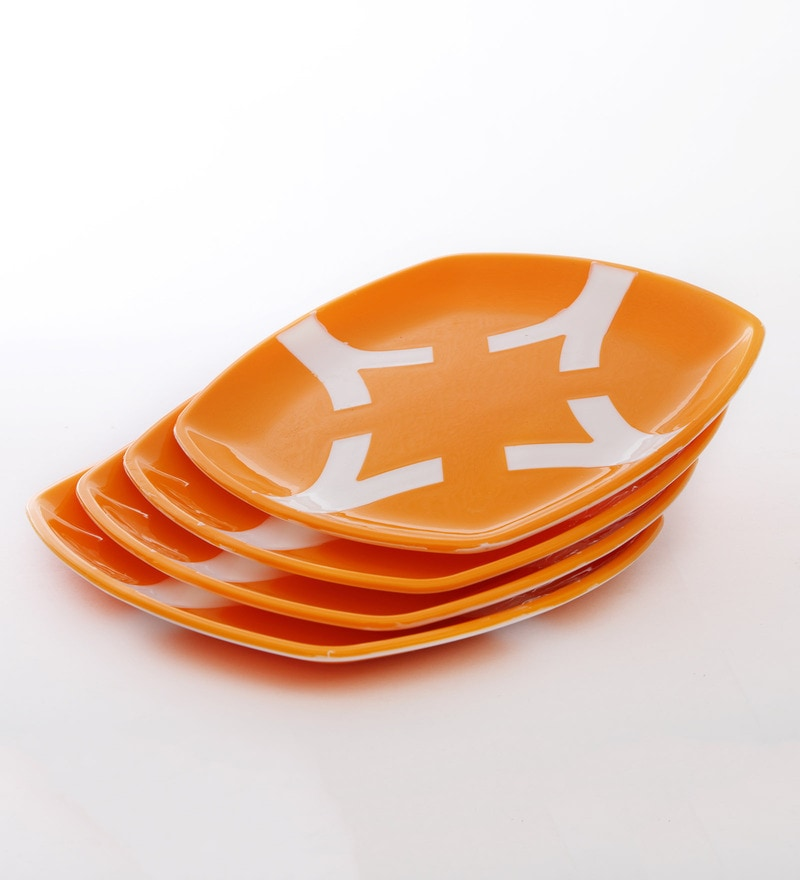 Cutting Edge Microwave Safe Orange & White Polypropylene Dinner Plates - Set of 4
