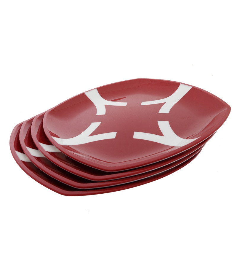 Cutting Edge Microwave Safe Red & White Polypropylene Dinner Plates - Set of 4