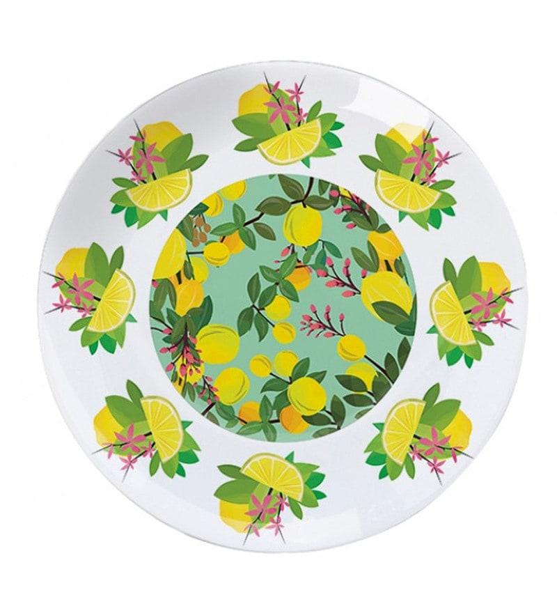 Cyahi of Limes & Lemons Multicolour Porcelain Dining Plate