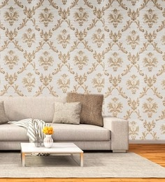 Damask Beige PVC Wallpaper With Emboss Finish