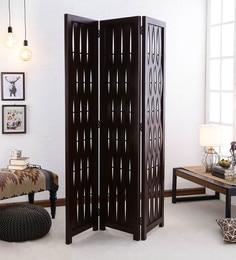 Dark Brown Pine Wood  Hand Crafted Room Partitioner - 1639455