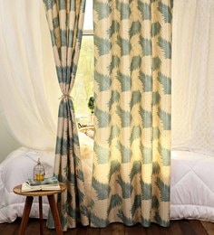 Dark Green And White Cotton 48 X 84 Inch Printed Curtains - Set Of 2
