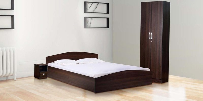 Daiki Bedroom Set ( Queen Bed with Two Door Wardrobe & Bedside Table ) in Wenge Finish by Mintwud