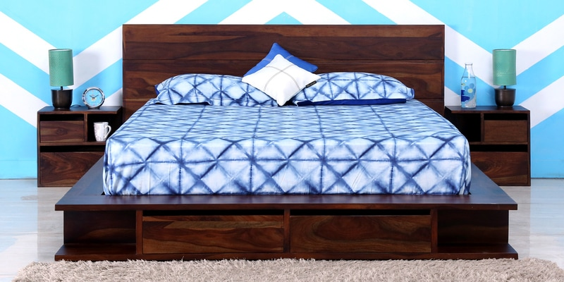Dayton King Bed with Bedside Tables in Provincial Teak Finish by Woodsworth