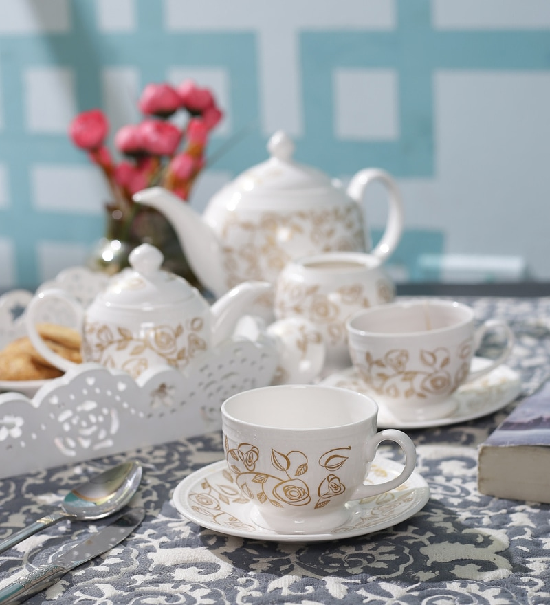 Dandy Lines Crown 25008 Bone China Tea Set - Set of 15