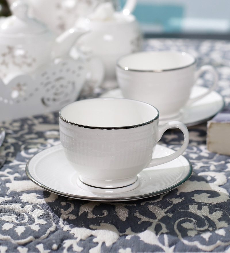 Dandy Lines Crown Silver 190 ML Bone China Cups & Saucers - Set of 6