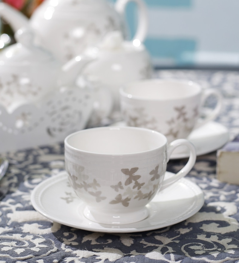 Dandy Lines Crown Butterfly 190 ML Bone China Cups & Saucers - Set of 6