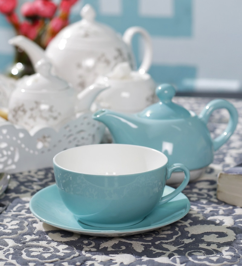 Dandy Lines Turquoise Blue Tea for One Bone China Tea Set