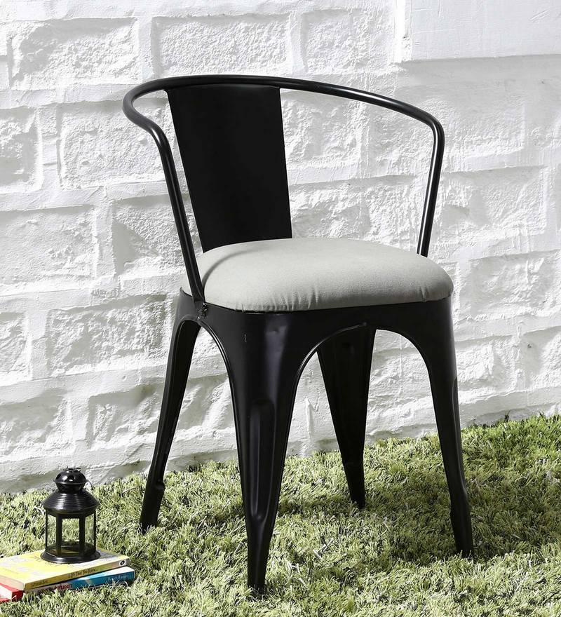 Danlou Metal Chair with Cushion in Black Colour by Bohemiana