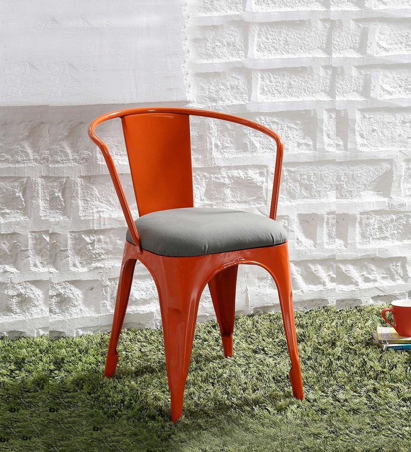 Danlou Metal Chair with Cushion In Orange Colour by Bohemiana