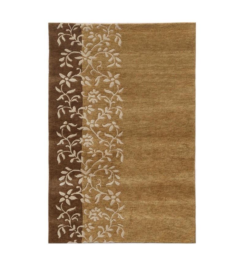 Dark Amber Gold Wool 43.2X67.2 Inchs 1 Carpet by Asterlane