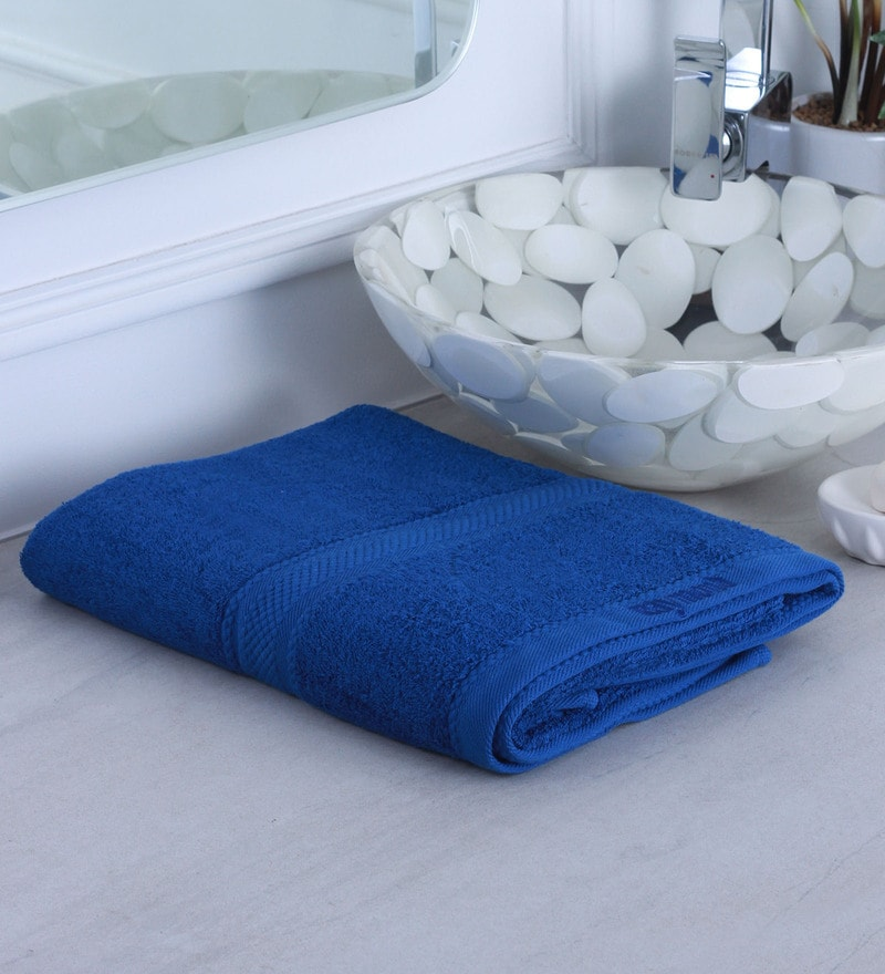 Dark Blue 100% Cotton Bath Towel by Raymond Home