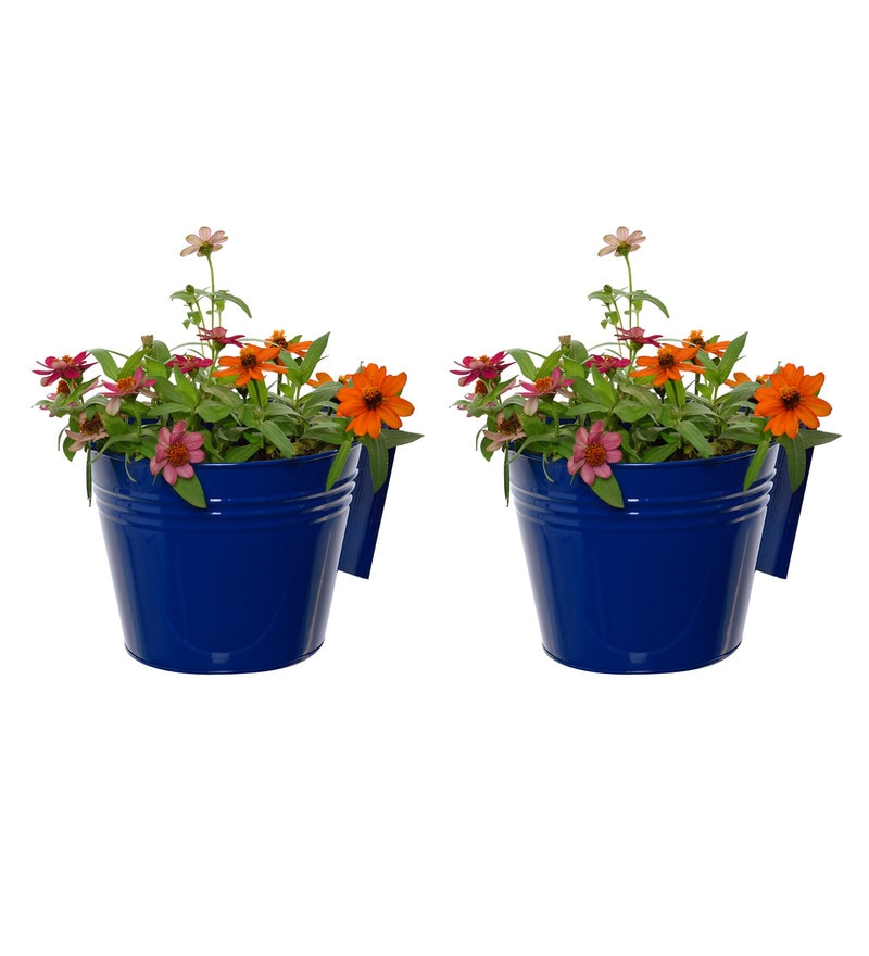 Dark Blue Metal Railing Planters by Green Gardenia - Set of 2