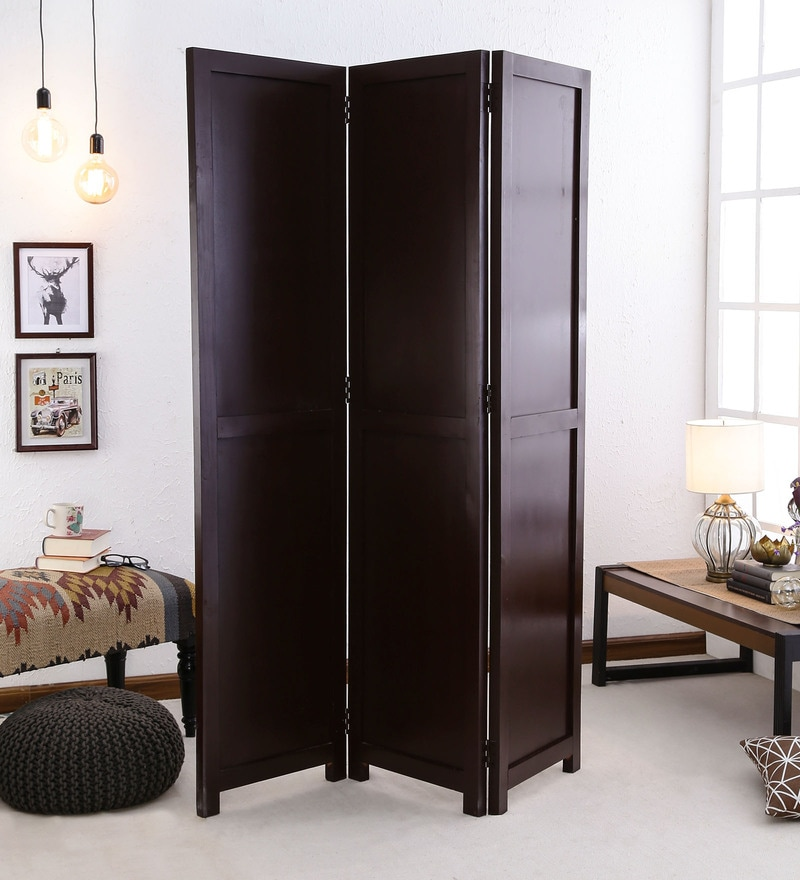 Dark Brown Pine Wood  Hand Crafted Room Partitioner by DHI
