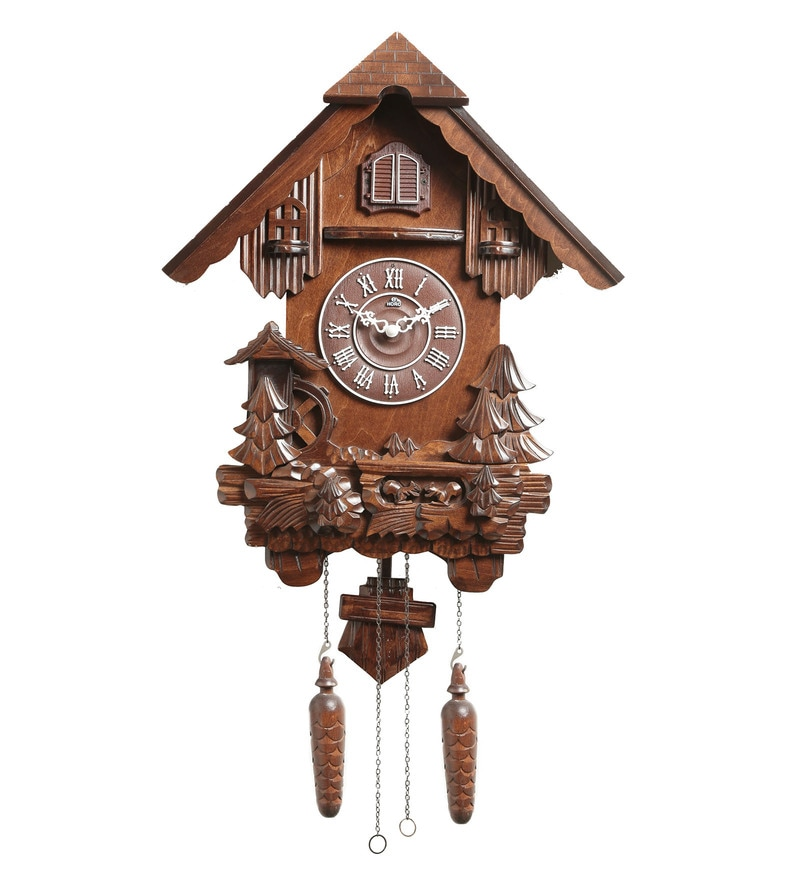 Dark Brown Wood 15.6 x 5.1 x 19.1 Inch Cuckoo Clock by Horo