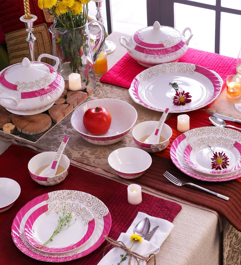 Curls Magenta Bone China Dinner Set - Set of 34 by Data Ceramics