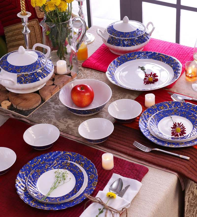 Eden Blue Bone China Dinner Set - Set of 22 by Data Ceramics