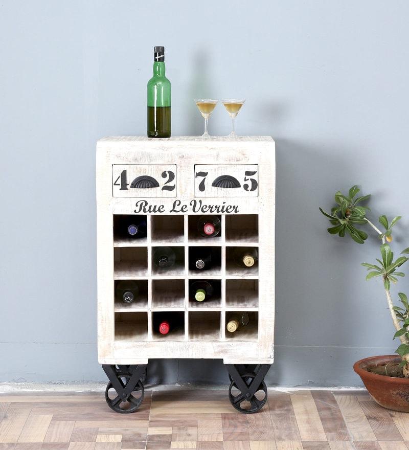 Dave Mango Wood Bar Unit on Wheels by Bohemiana
