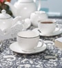 Dandy Lines Crown Silver Bone China Tea Set - Set of 15