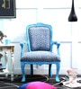 Elton Arm Chair in Blue Distress Finish by Bohemiana