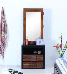 Deux Solid Wood Dressing Table In Dual Tone ...