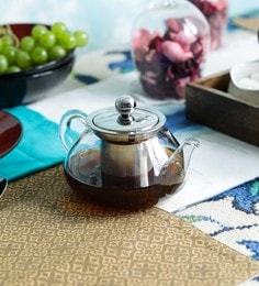 Devnow Bar Marcado Glass Borosilicate Glass & Stainless Steel 450 ML Tea Pot With Strainer