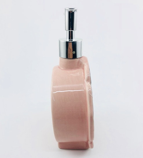 Go Hooked Designer Flower Shape Pink Ceramic Counter Top Soap Dispenser