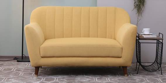 Delfina Two Seater Sofa In Camel Yellow Colour