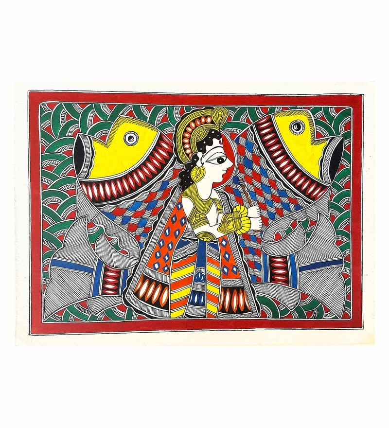 Handmade Paper 15 x 11 Inch The Krishna Avatar Painting by De Kulture Works